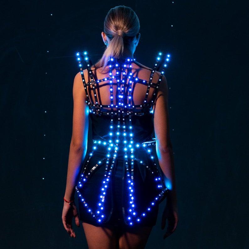 Rave Led Light Up Rainbow Cage Dress